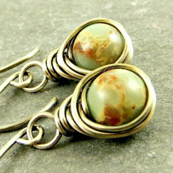 Jasper Earrings, Wire Wrap Earrings,  Earthy Earrings Eco Friendly Jewelry Gifts for Her by adorned7 on Etsy