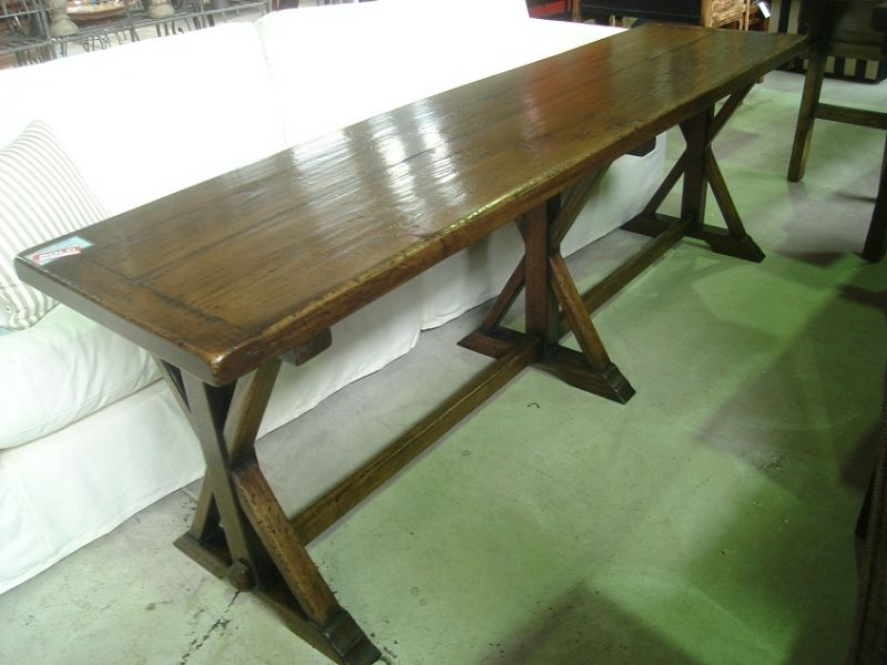 French Oak Cross Base Dining Table. French Oak Cross Base Console. Custom made console. Console ideas. Ideas for small space decorating. French Farmhouse Table. French Farmhouse Table Ideas.