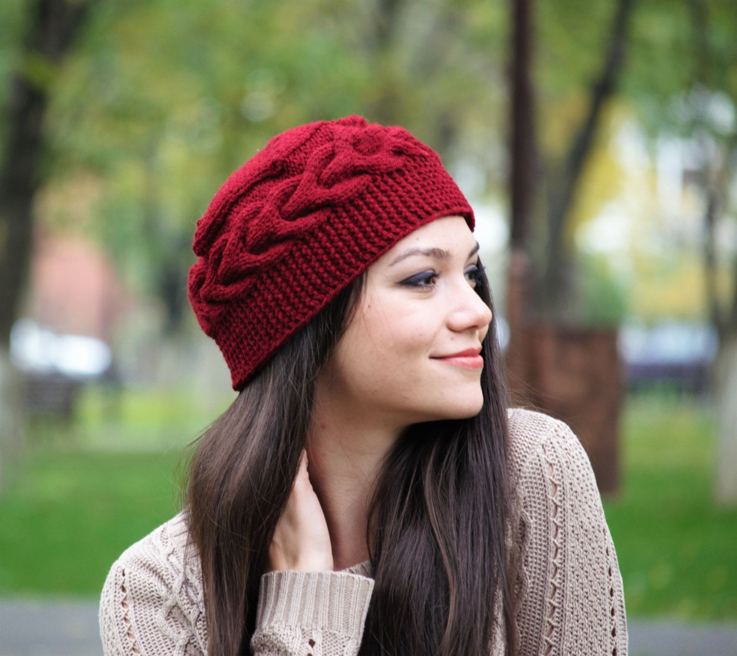 2ab976508b3 Marsala Cable Knit Hat