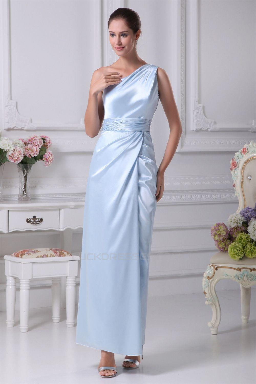 Ruffles elastic woven satin oneshoulder long bridesmaid dresses