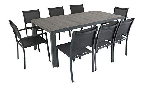 Oviala Salon de Jardin Aluminium et céramique 1 Table 6 ...