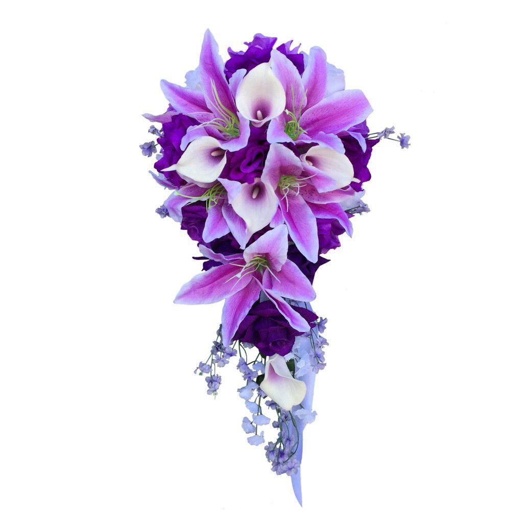Cascade bouquet purple wedding flowers wedding flowers
