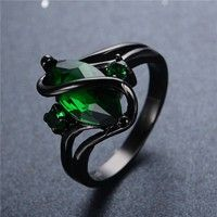 "Photo of Hot Sale Emerald Topaz ""S"" Ring Black Gold Filled Charm Women and Men Party Finger Jewelry Size 3-12 