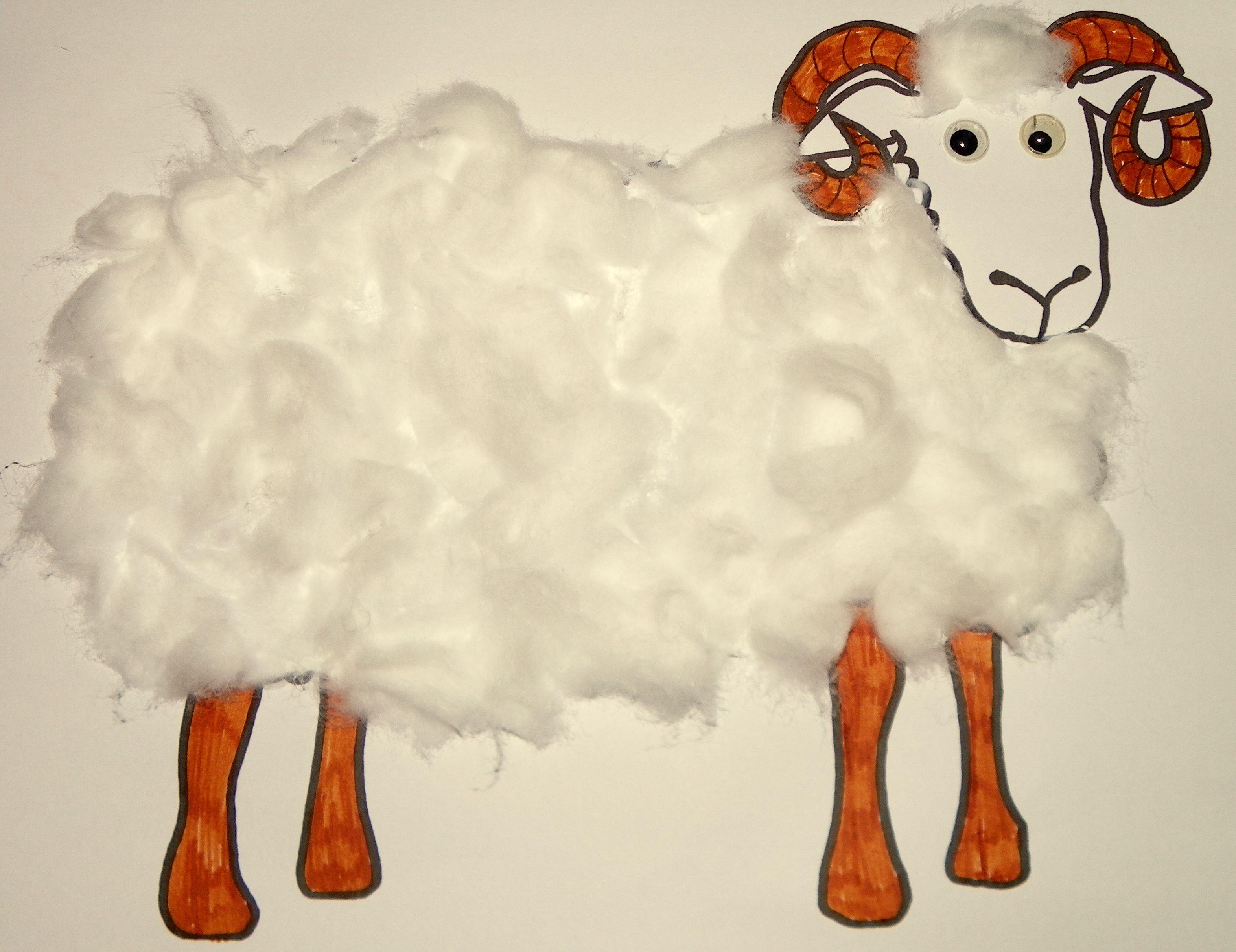 Kids Craft Free Sheep Ram Template Cotton Wool Colouring
