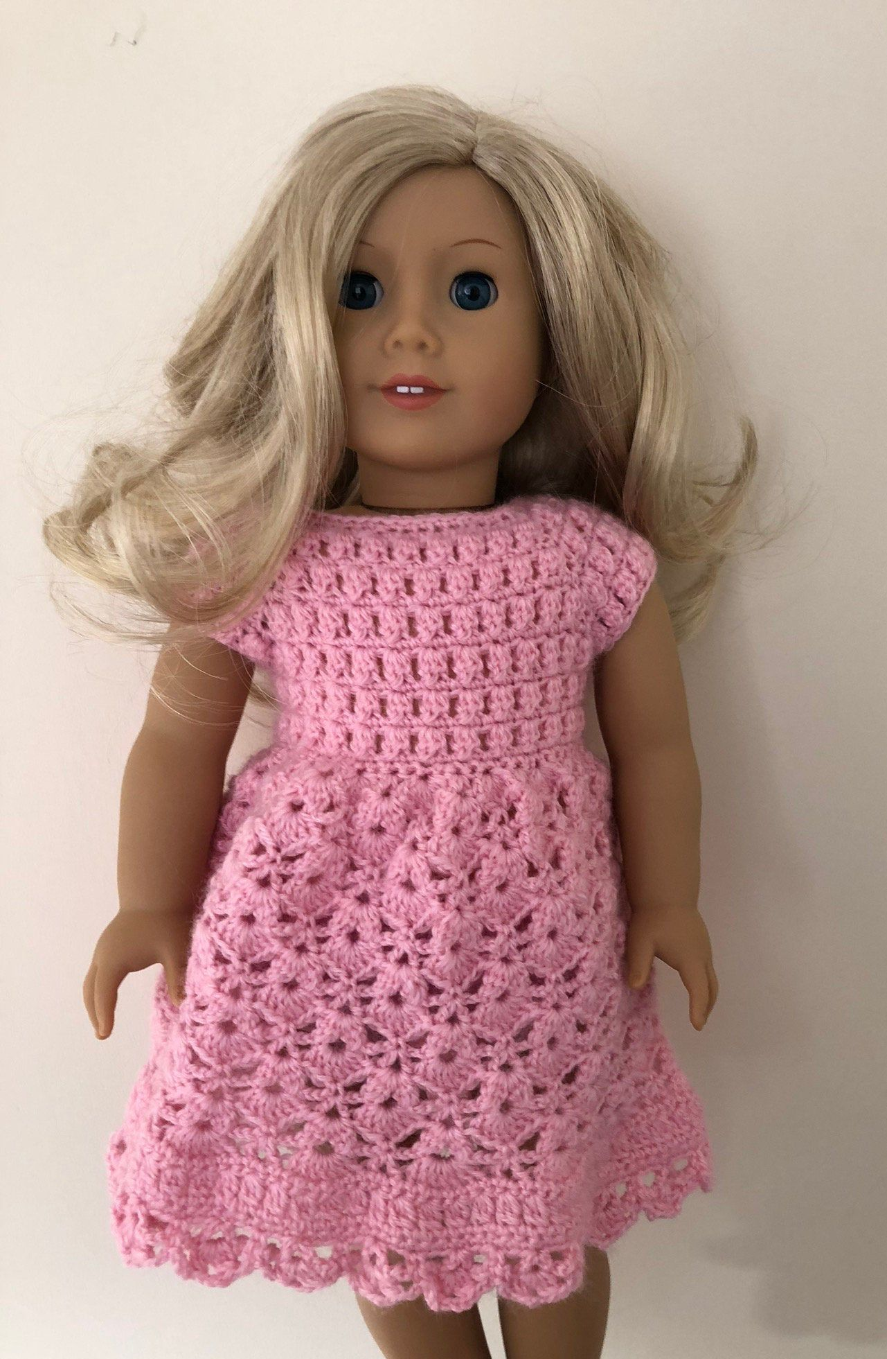 Pink doll dress. 18 inch doll dress. Hand crocheted dress for 18 doll such as American Girl. Doll outfit. Dolls clothes #18inchdollsandclothes