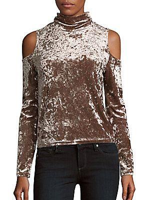 b748d1335d17d5 Saks Fifth Avenue Crushed Velvet Cold-Shoulder Top - Taupe - Size ...