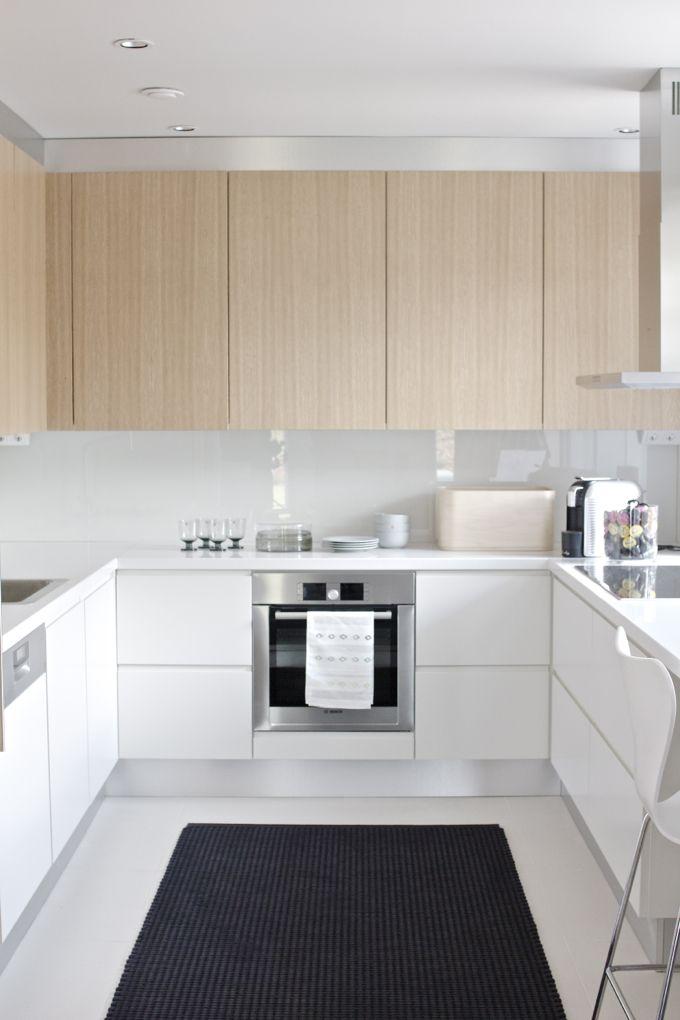 white and light wood textured modern kitchen