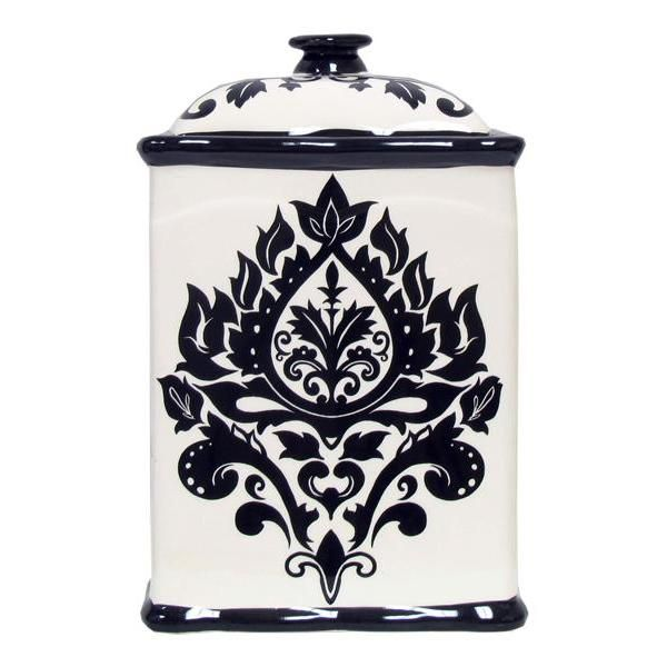 Love These Canister Set From Hobby Lobby Black And White Decor Damask Porcelain Tea Set