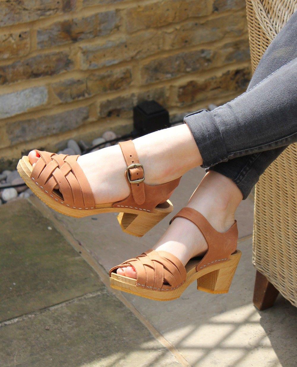 0b4f9c3e2c Moheda Betty High Heel Braided Clogs in Cognac Nubuck Leather ...