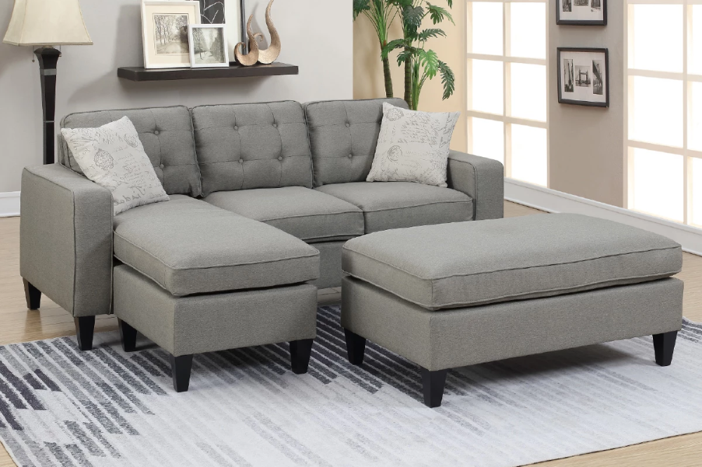 Poundex F6576 3 Piece Grey Sectional Set Sectional Sofa Sofa Set Sectional Patio Furniture