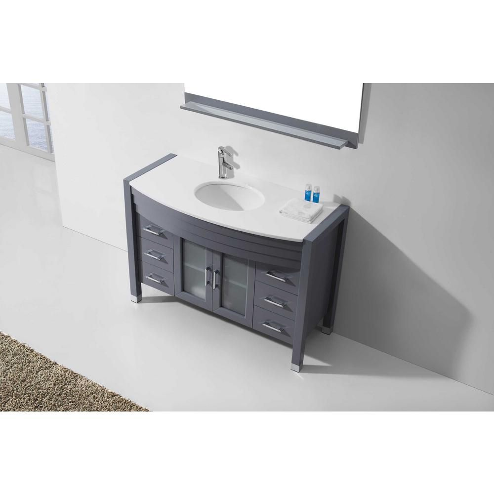 Virtu Usa Ava 47 In W Bath Vanity In Gray With Stone Vanity Top In White Stone With Round Basin And Faucet Ms 509 S Gr Nm The Home Depot Vanity Top Vanity Single