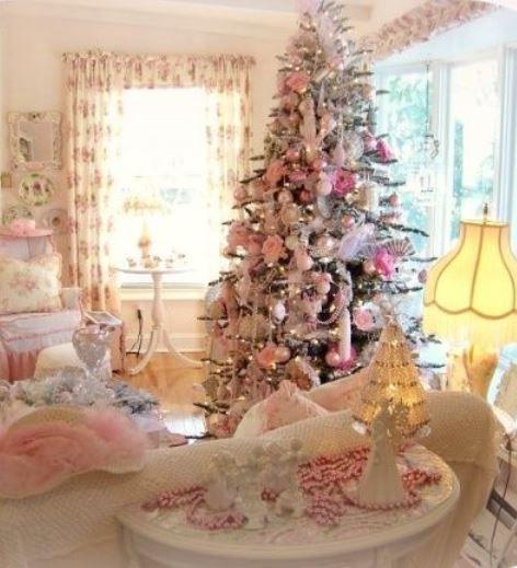 Albero Di Natale Rosa Cipria E Oro.Albero Di Natale 2014 Shabby Chic Bianco E Rosa