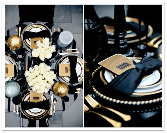 This Is A Black And Gold Place Setting But Could Be Used With A Dark Navy  Blue And Subtle Gold.