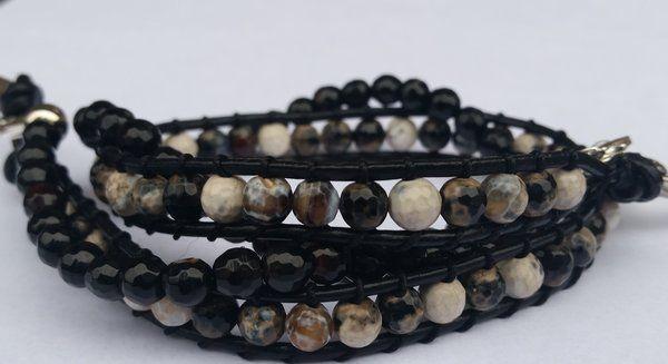 Agate Leather Wrap Bracelet - 2 in 1