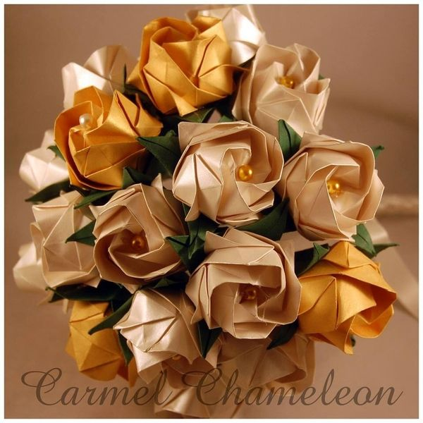 Origami kawasaki rose bouquet 12 available online to buy from origami flowers gold ivory rose bridalbride bouquet with contrasting pearl centres mightylinksfo