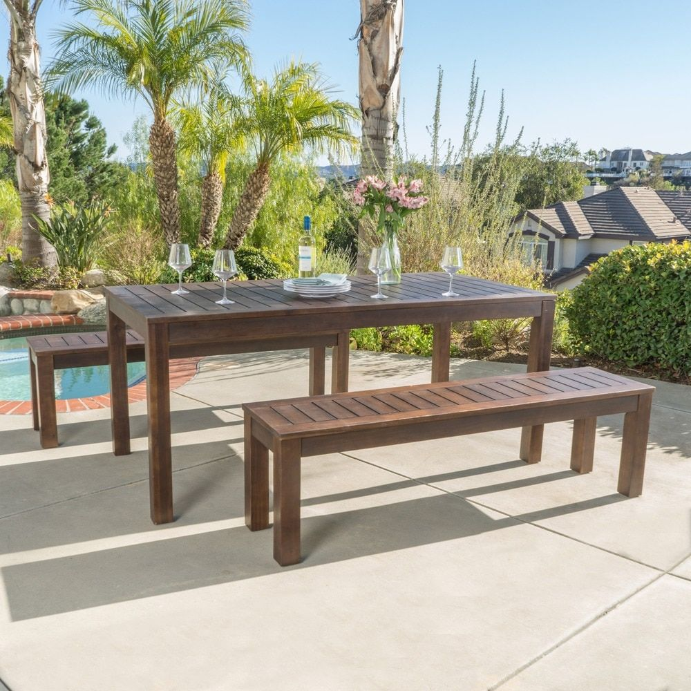 Manila outdoor 3 piece acacia wood rectangle picnic dining set by christopher knight home