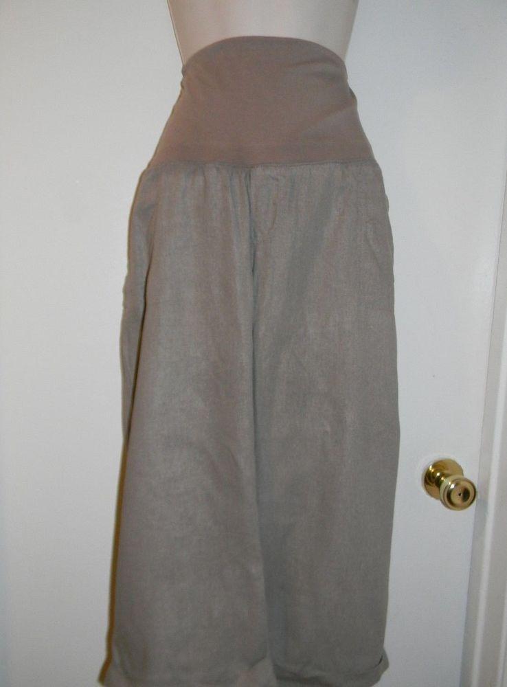 ae6e733723344 Old Navy Maternity Capris Pants Slacks Size XL X-Large 16 / 18 Beige Flax  Linen #OldNavy #Linen