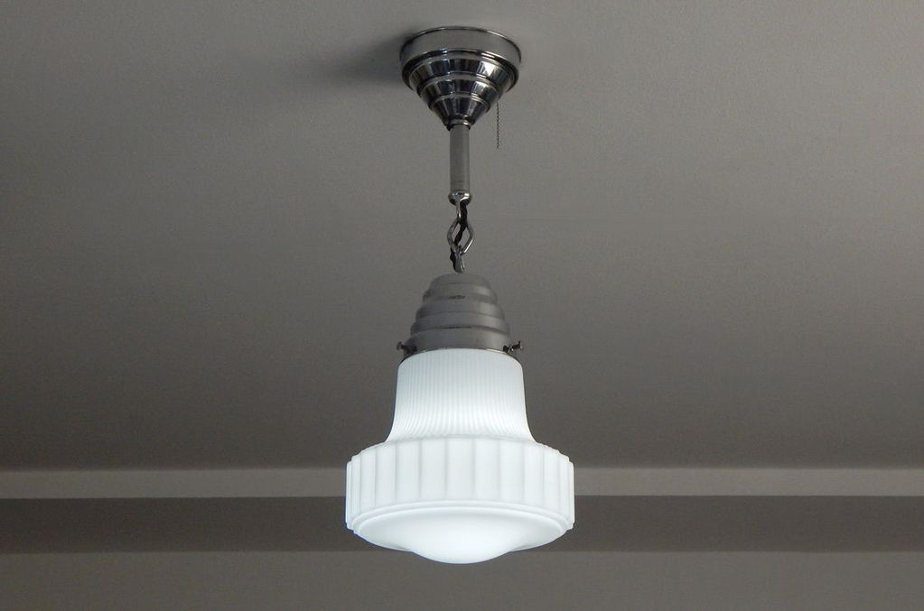 Art Deco Aluminum Pendant Light With Pull Chain For Sold With