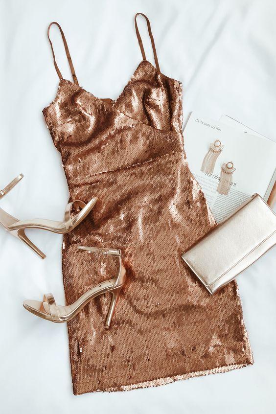 Glisten to Me Copper Sequin Surplice Mini Dress #fancydress