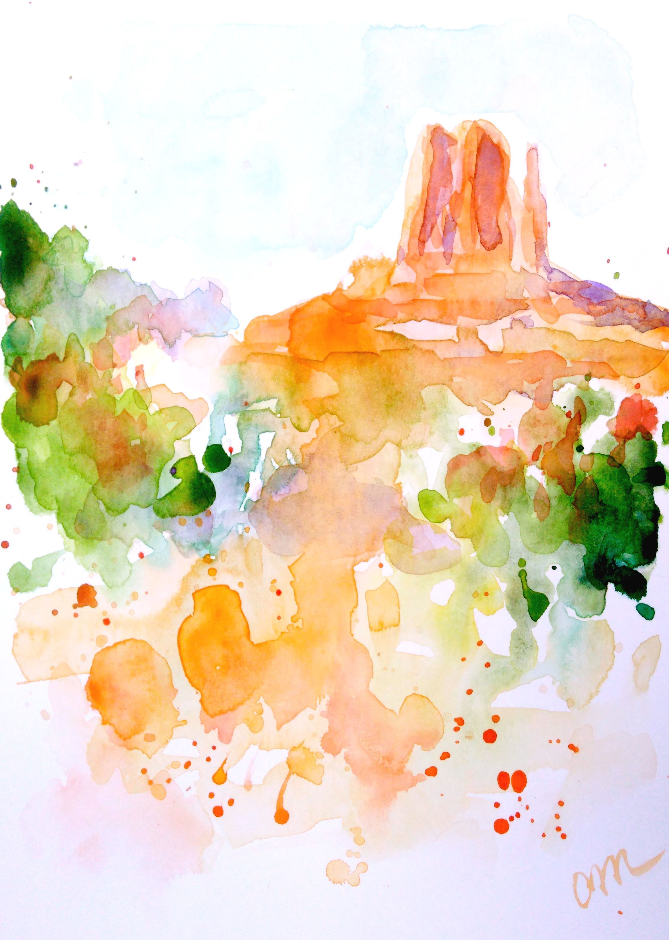 Monument Valley National Park Watercolor Painting Abstract
