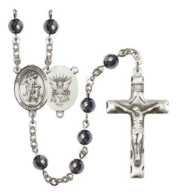 Guardian Angel / Navy Silver-Plated Rosary with 6mm Hematite beads