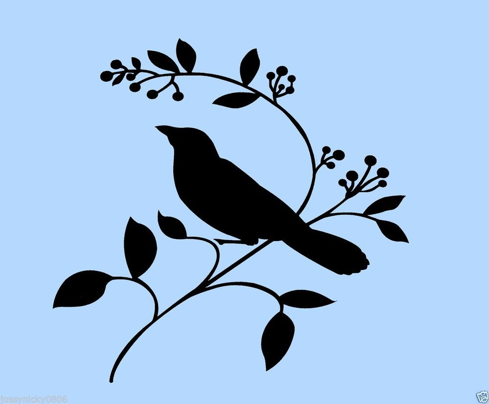 Bird Stencil Branch Branches Birds Leaf Flexible Stencils Template