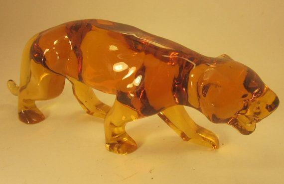 Vintage Lalique France Amber Glass Tiger by LazyDogAntiqueStore