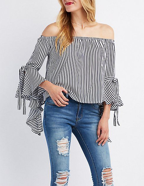 648e7e76ded Striped Cascading Off-The-Shoulder Top | Style in 2019 | Tops ...