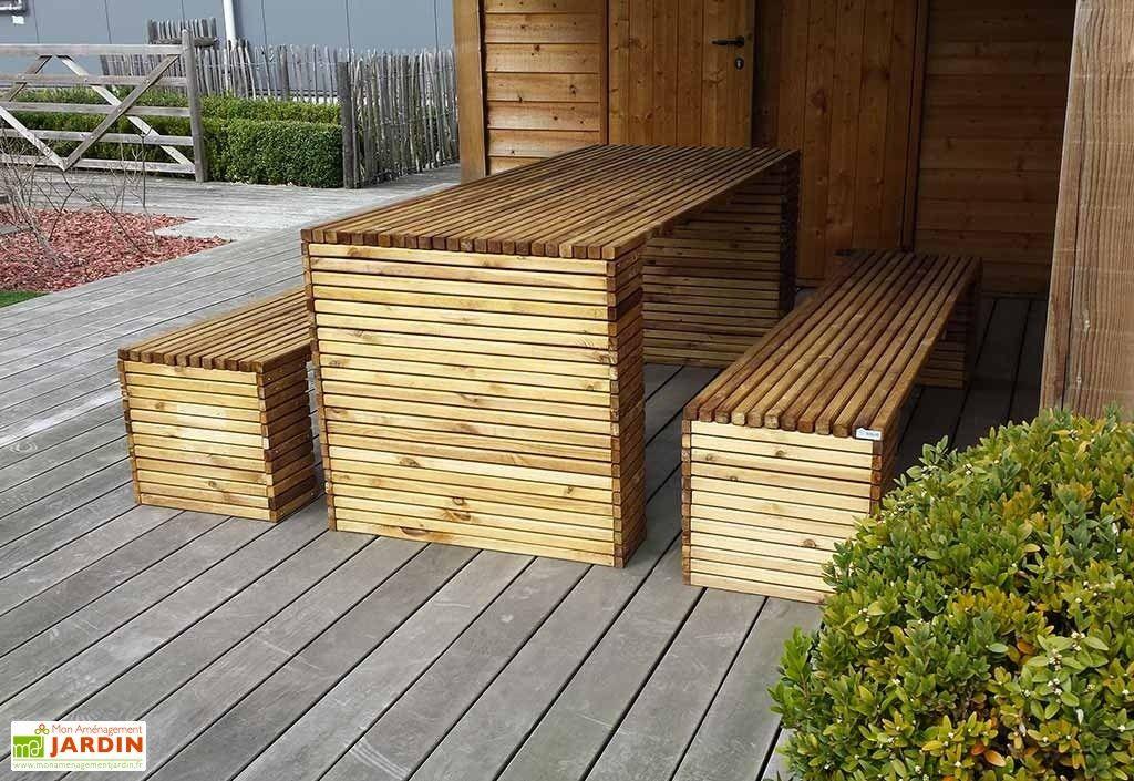 Salon de Jardin en Bois Autoclave Table + Bancs 200 cm 30 mm ...