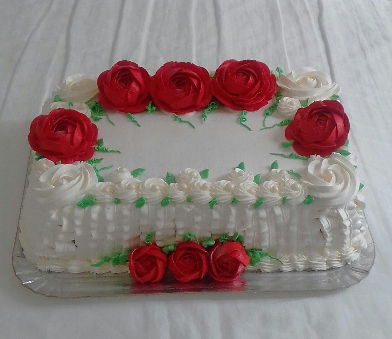 Bolo Com Rosas Vermelhas Bolo Com Rosetas Chantininho Bolo Rosa