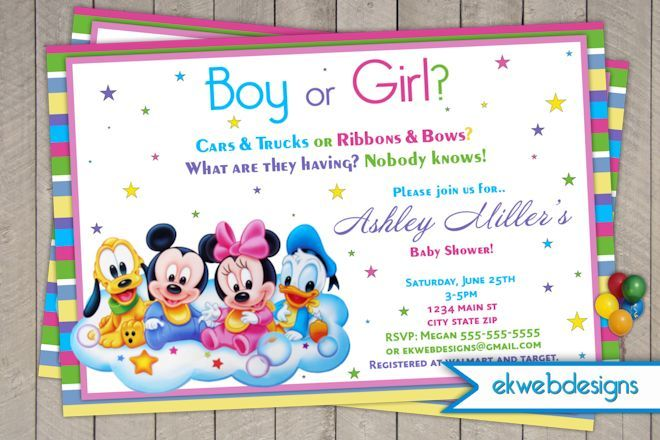 Boy Or Girl Mickey And Friends Baby Shower Invitation Neutral Baby