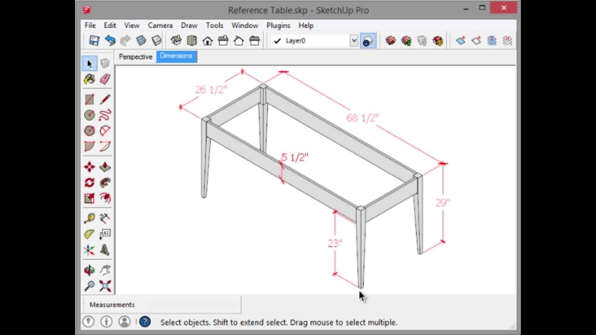 Learn Sketchup Model A Simple Table Preview Sketchup