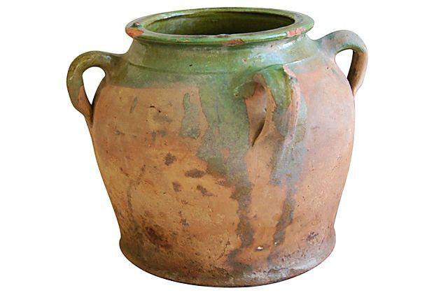Antique French 4 Handled Confit Pot The Prized Pig 11 5 D X 9 H Onekingslane Com 399 00 249 00 Pots Vasque Confit