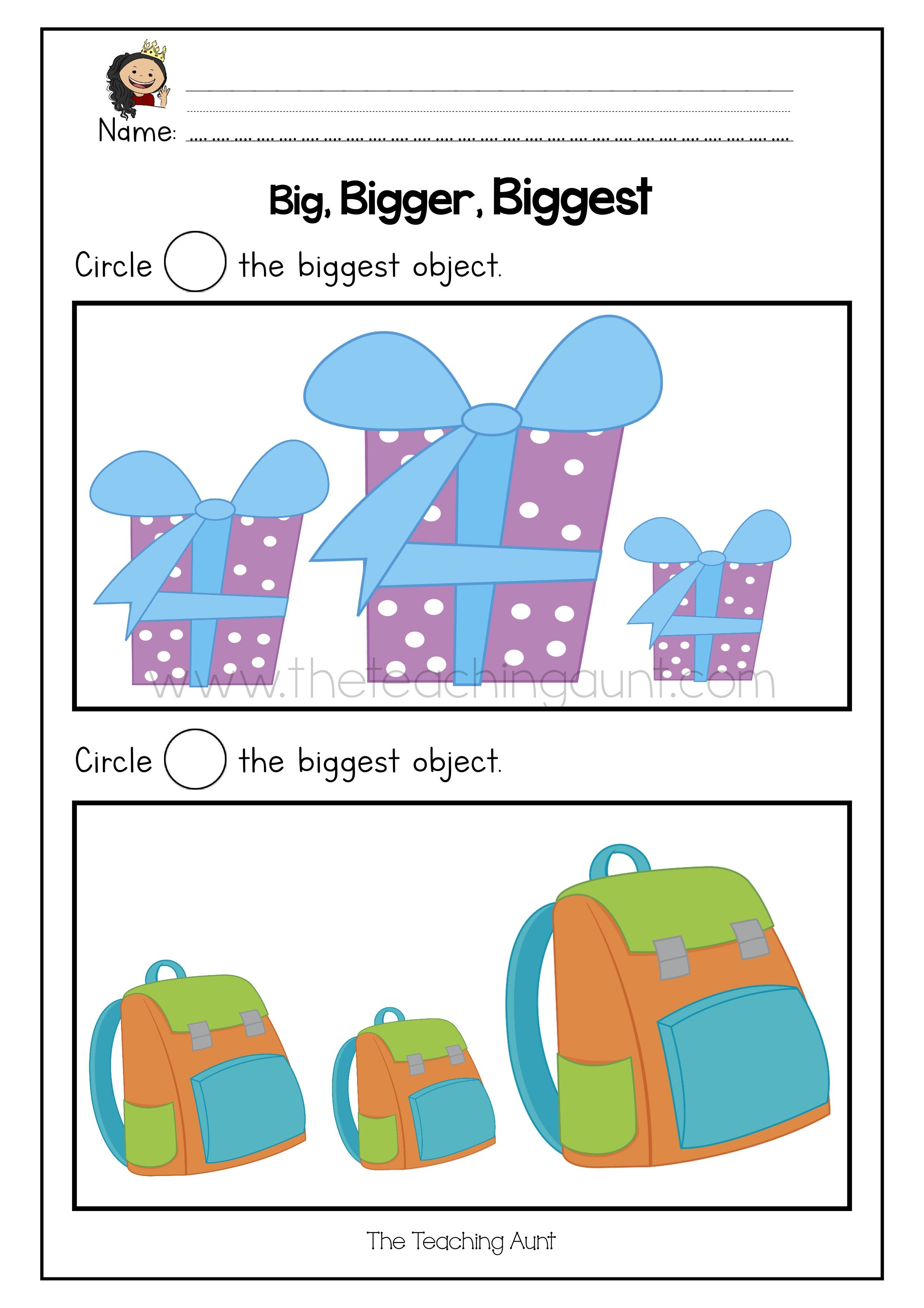 Big Bigger Biggest Free Printable