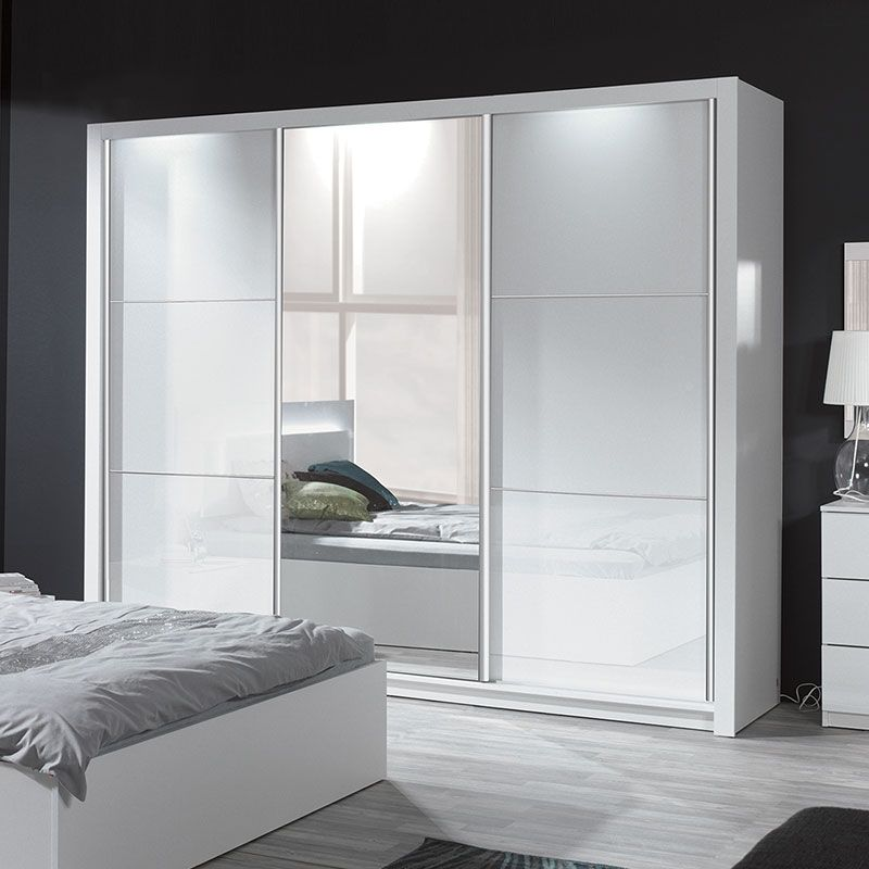 Armoire lumineuse blanc laqu design molly meubles for Chambre a couche wenge