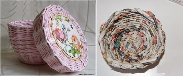 Elegant DIY Wicker Basket Using Newspaper Good Looking