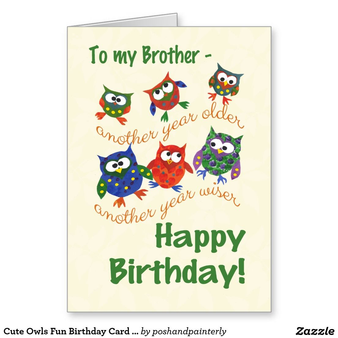 Cute Owls Fun Birthday Card For A Brother Up To 3 50 Http Www