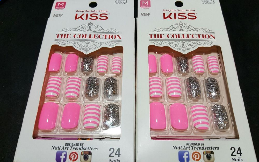 2 KISS 24 Glue-On Nails PINK STRIPES+SILVER GLITTER The Collection ...