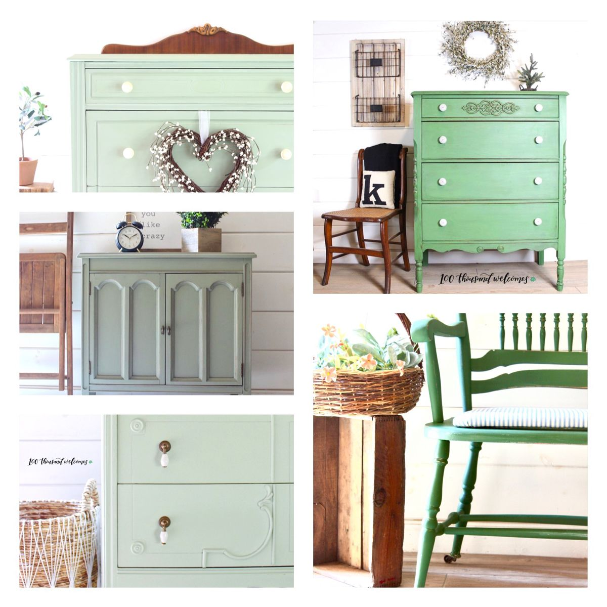 Some favorites painted in green. #countrychicpaint #farrowandball  #cookingapplegreen  #greenpaintedfurniture #milkpaintedfurniture  #vintagefurniture