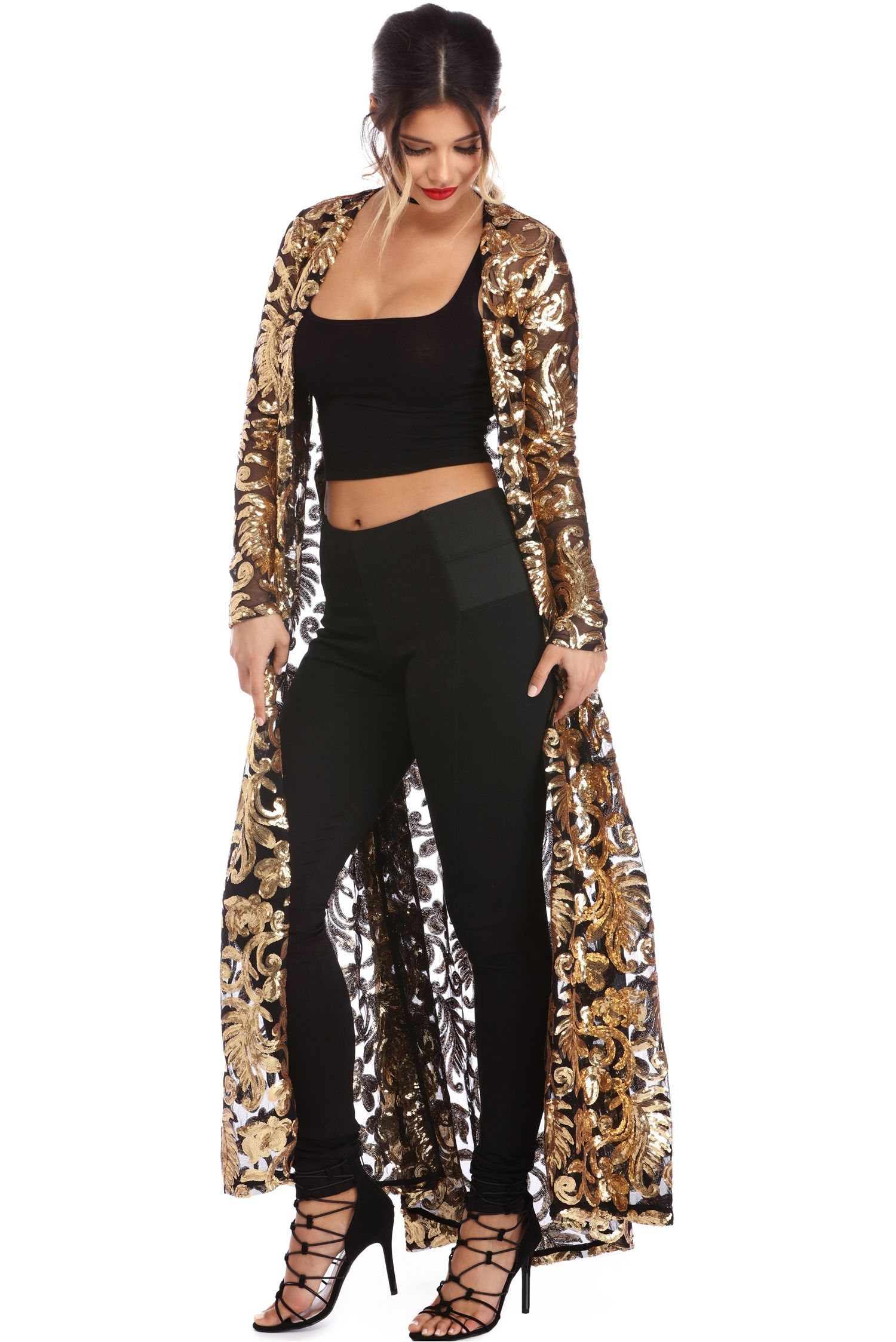 a2f4448748e69a Gold Floral Sequin Duster