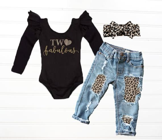 Baby Girls' Two Fabulous Leopard Print 2nd Birthday Outfit Cheetah Print Birthday Outfit #birthdayoutfit