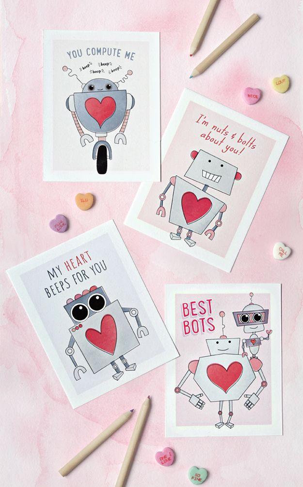 Free Printable Robot Valentine Cards Robot Valentine Cards