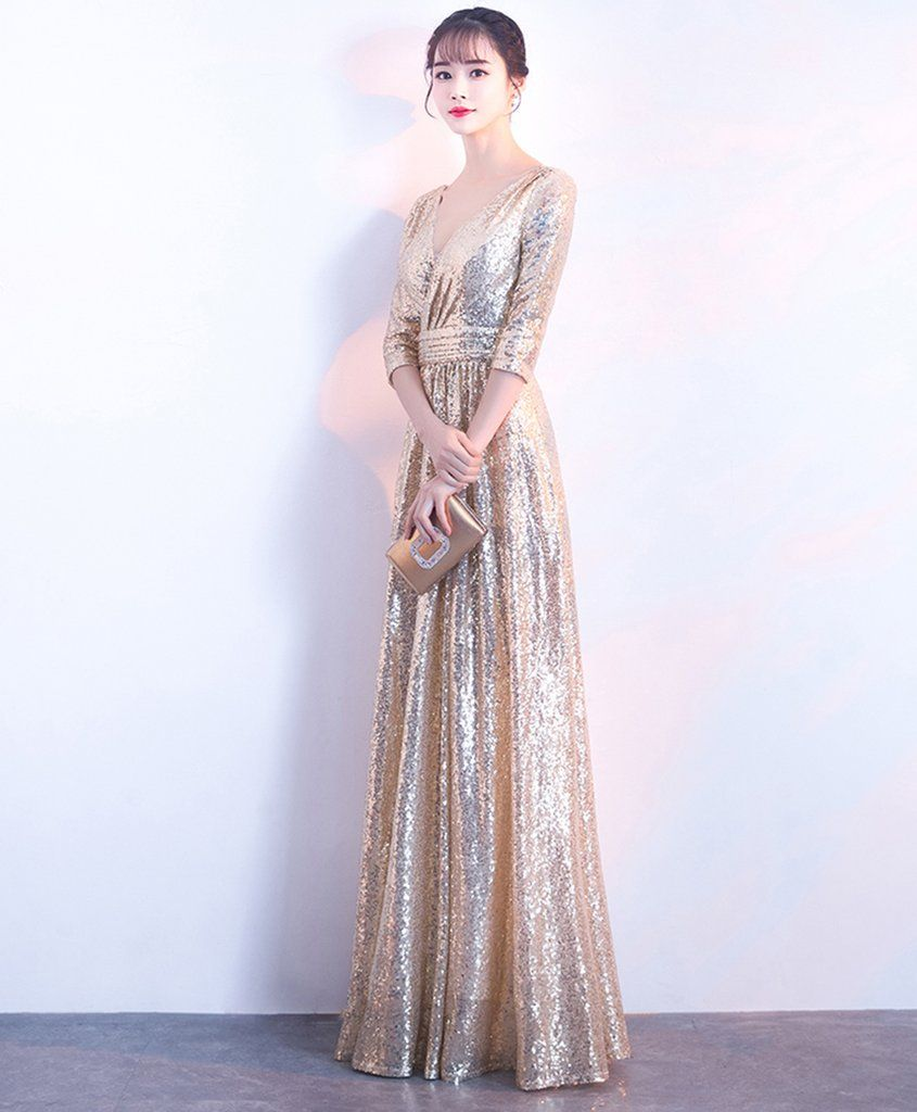 gold sequins long customize evening dress prom dress with