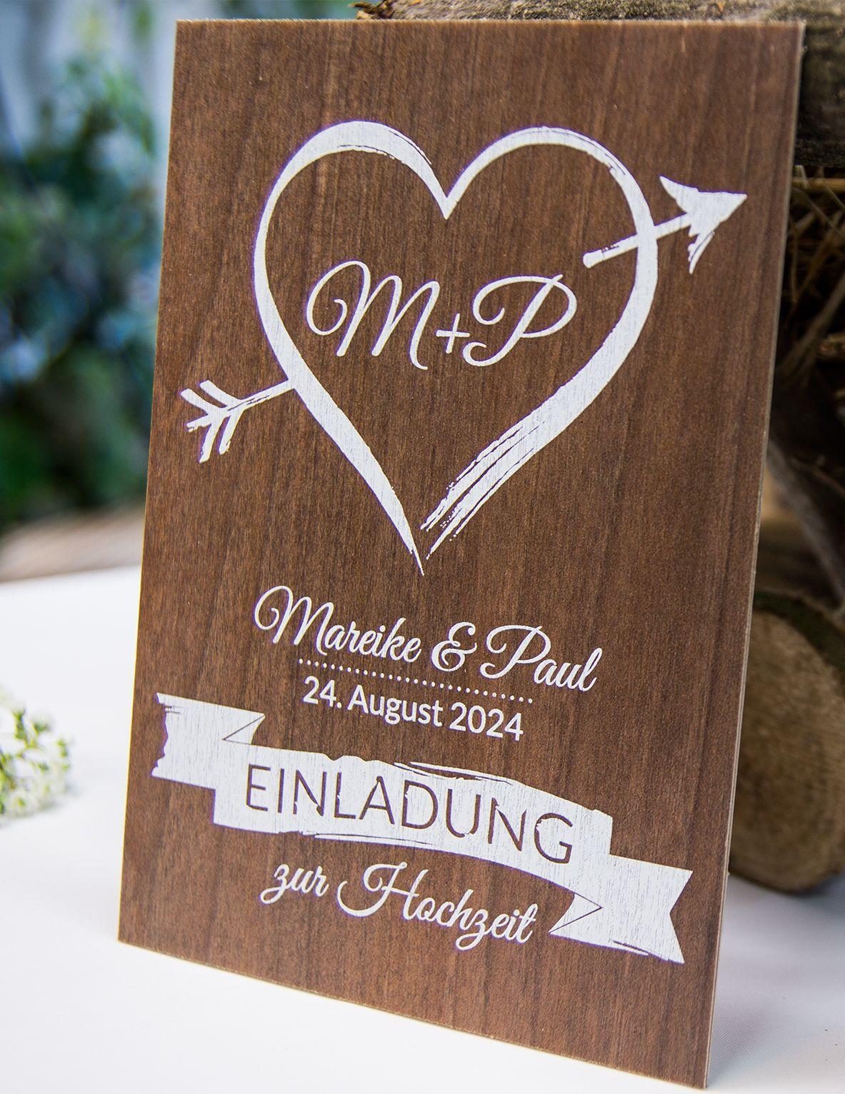 Hochzeitseinladung Aus Holz Amor Traumhafte Einladung Aus Echtem