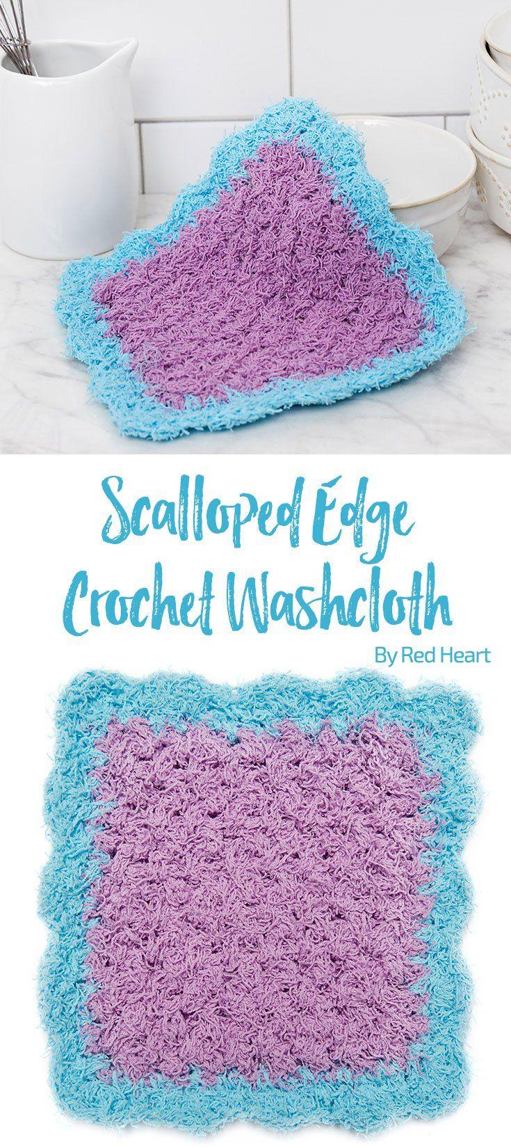 Scalloped Edge Crochet Washcloth free crochet pattern in Scrubby ...