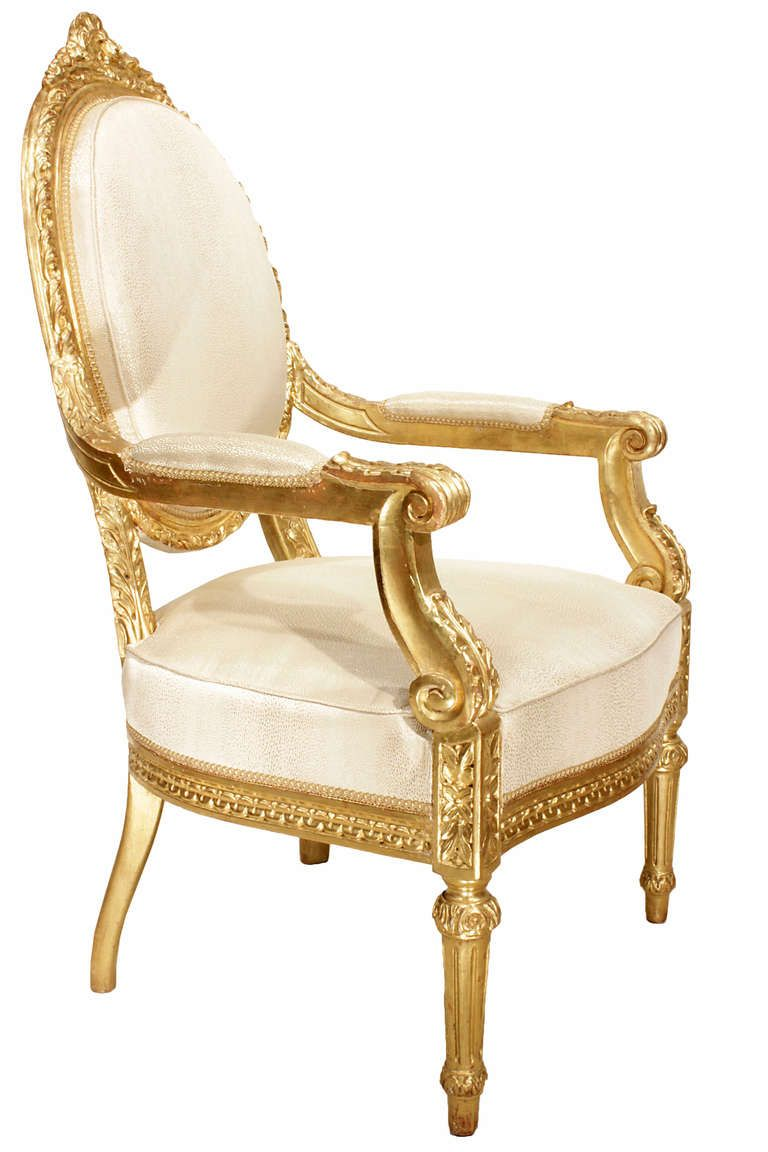 Italian Mid 19th Century Louis XVI Style Giltwood Dining Chairs