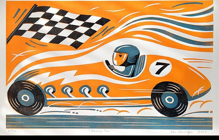 Racing Car Limited Edition Linocut Print | Ian Cunliffe | Artists | Artworks | Happy Spaces