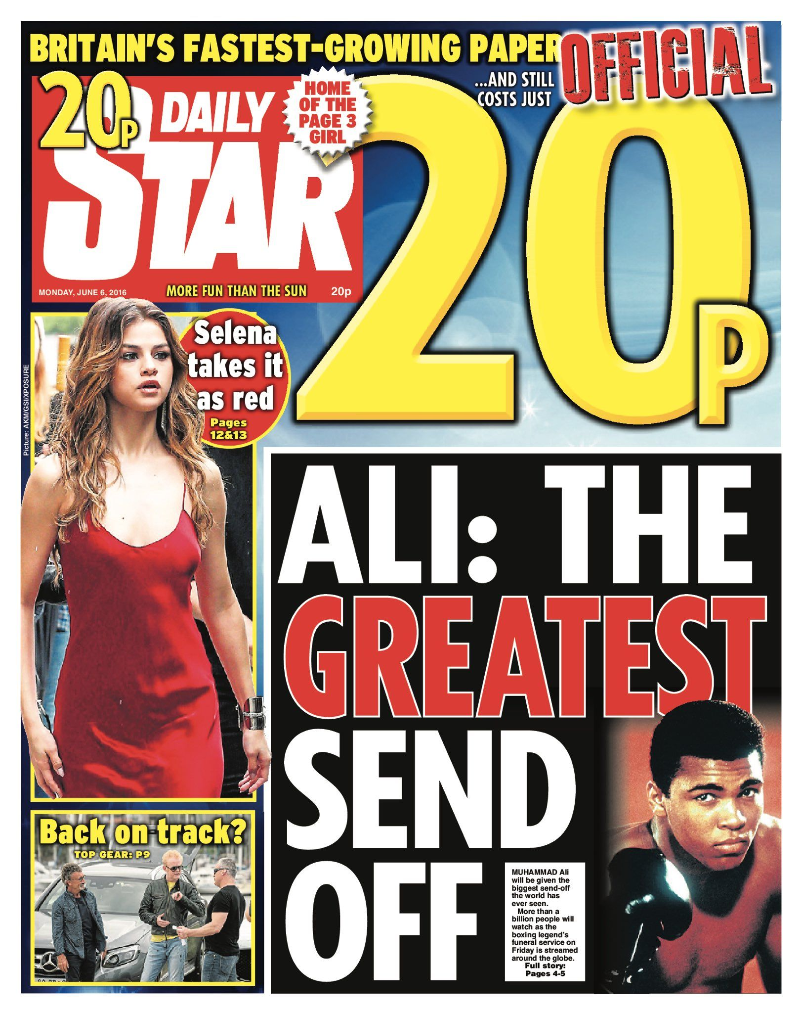 Monday's Daily Star front page - Ali: the greatest send off #tomorrowspaperstoday #bbcpapers https://t.co/uh7h3TNjLk