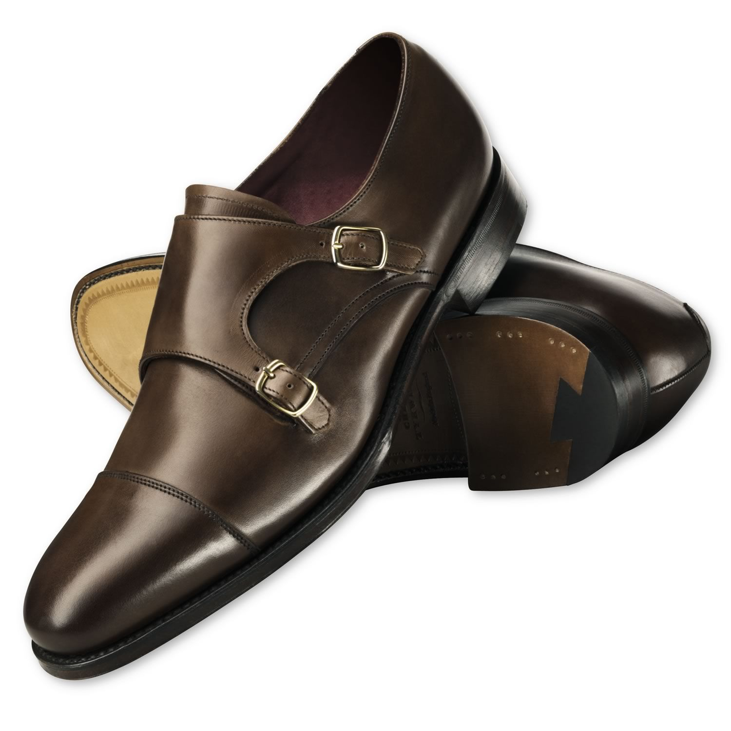 Brown Fleet calf double buckle monk shoes | Calf leather shoes from Charles Tyrwhitt | CTShirts.com $265
