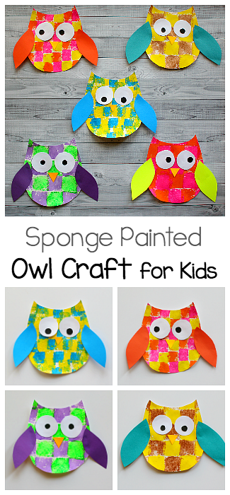 Sponge painted owl craft for kids with owl template owl for Fall arts and crafts for preschoolers